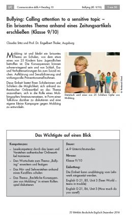 Bullying: Calling attention to a sensitive topic. Ein brisantes Thema anhand eines Zeitungsartikels erschließen (WORD)