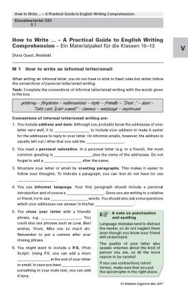 A Practical Guide to English Writing Comprehension - Ein Materialpaket für die Klassen 10-13