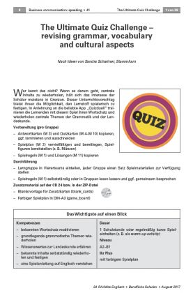 The Ultimate Quiz Challenge revising grammar, vocabulary and cultural aspects
