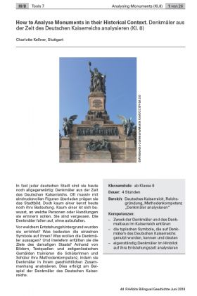 Denkmäler aus der Zeit des Deutschen Kaiserreichs analysieren - How to Analyse Monuments in their Historical Context