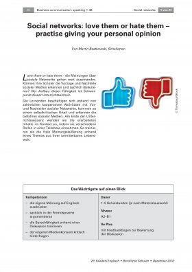 Social networks: love them or hate them - practise giving your personal opinion