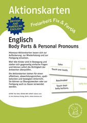 Aktionskarten: Body Parts und Personal Pronouns