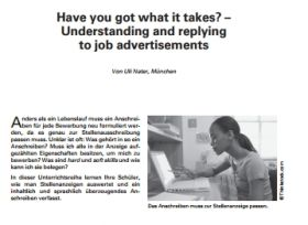 Have you got what it takes? - Understanding and replying to job advertisements