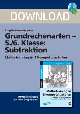 Mathetraining in 3 Kompetenzstufen - Subtraktion  (5./6. Klasse)