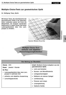 Multiple-Choice-Tests zur geometrischen Optik