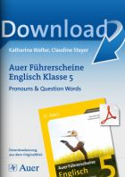 Pronouns & Question Words  - Auer Führerscheine Englisch Klasse 5